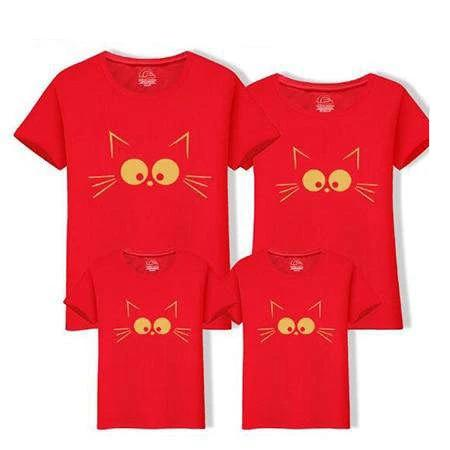 T Shirt Famille Assorti Chat Amusant