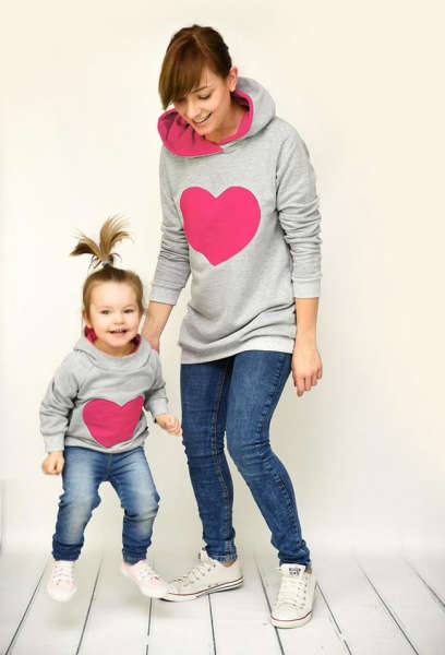 Sweat Assorti Famille Coeur