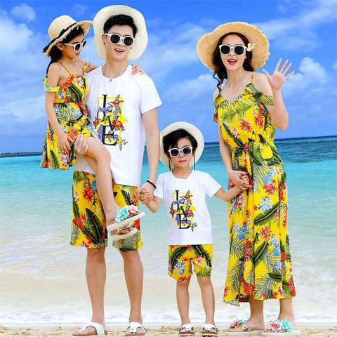 Vêtement Assorti Famille T Shirt Short Robe Polyester