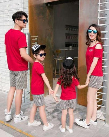 Vêtement Famille Assorti Short T Shirt Rouge Coton