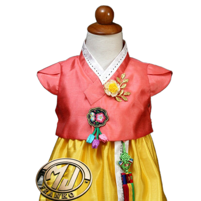Hanbok Fille Orange Jaune | MJ FRANKO