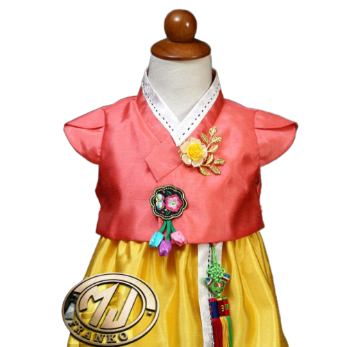Hanbok Fille Orange Jaune