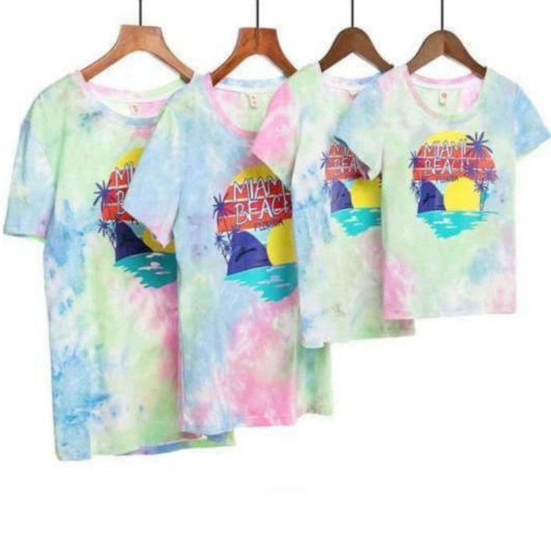 T Shirt Assorti Famille Multicolore