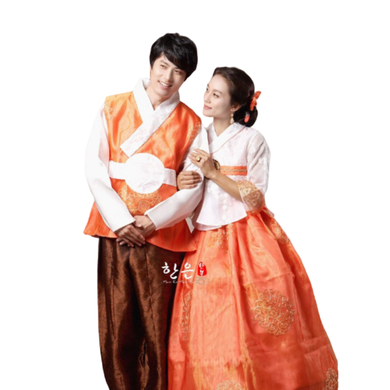Hanbok Couple Blanc Orange