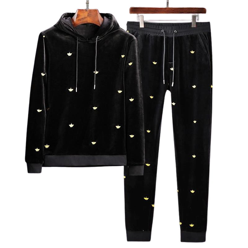 Ensemble Jogging et Sweat Velours Homme Brodé Abeille