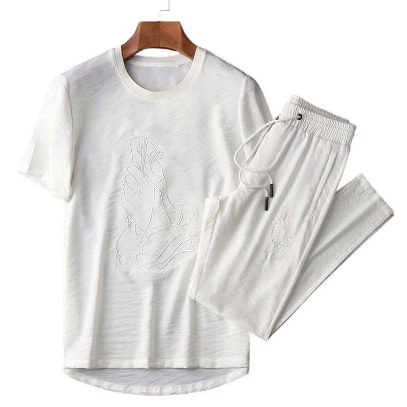 Ensemble Jogging et T Shirt Blanc Homme