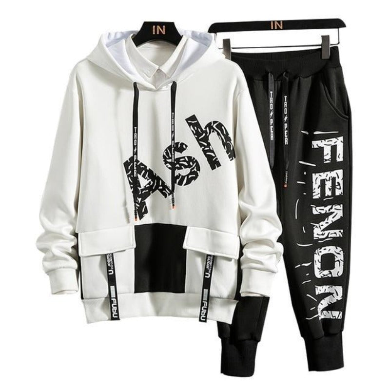 Ensemble Sweat et Pantalon Streetwear Blanc Noir
