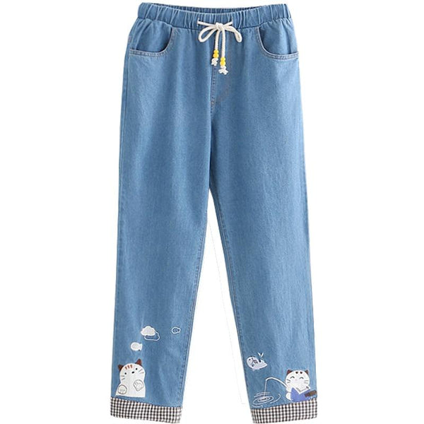 Pantalon en Jean Chat Kawaii