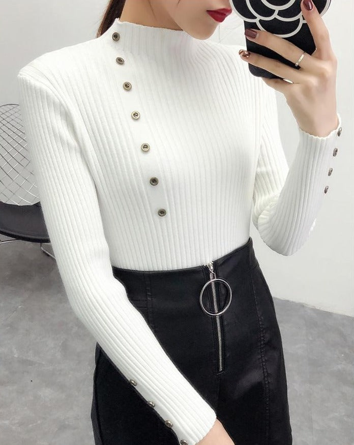 Pull Col Roulé Femme Tricot