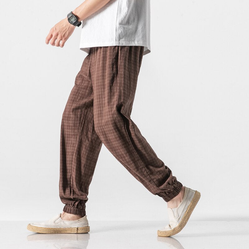 Pantalon à Carreaux Lin coton
