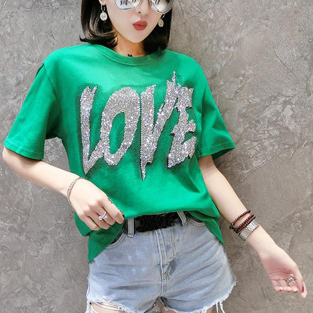 T Shirt Love Avec Strass | MJ FRANKO