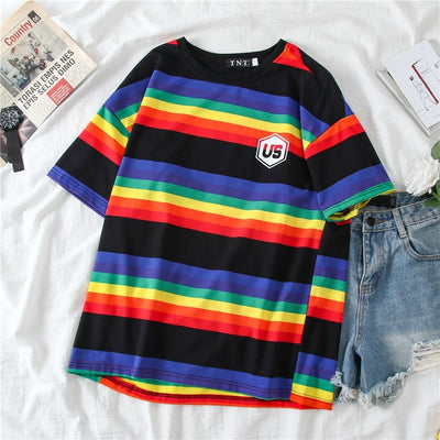Tee Shirt Rayé Multicolore | MJ FRANKO