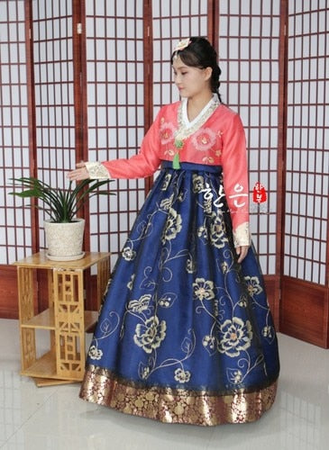 Hanbok Bleu Orange