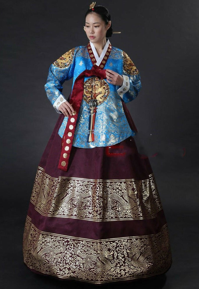 Hanbok Traditionnel Bleu Bordeaux