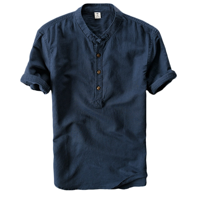 Chemise Col Mao Homme Lin