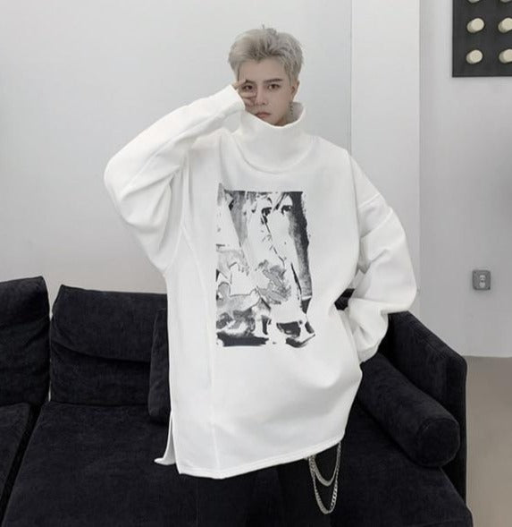 Sweat Long Col Montant Streetwear Homme
