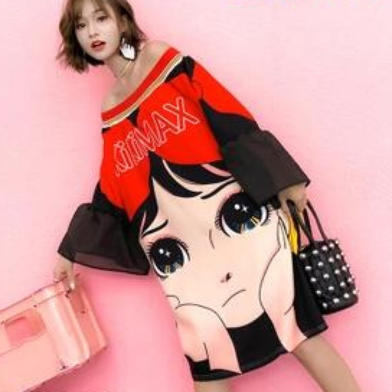 Long T Shirt Femme Visage Cartoon