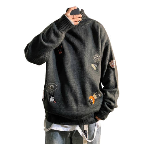 Pull Col Roulé Brodé Cartoon Homme