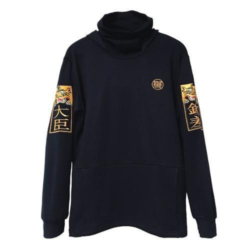 Pull Col Roulé Noir Homme Broderie