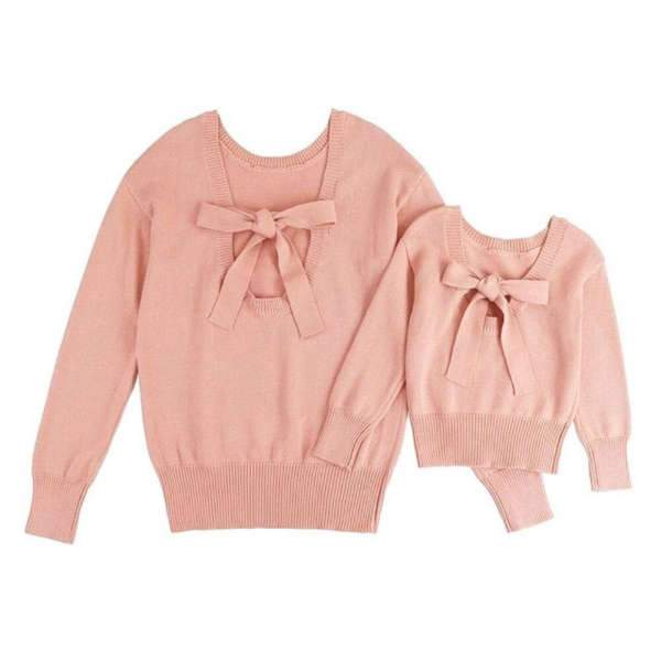 Pull Mère Fille Rose