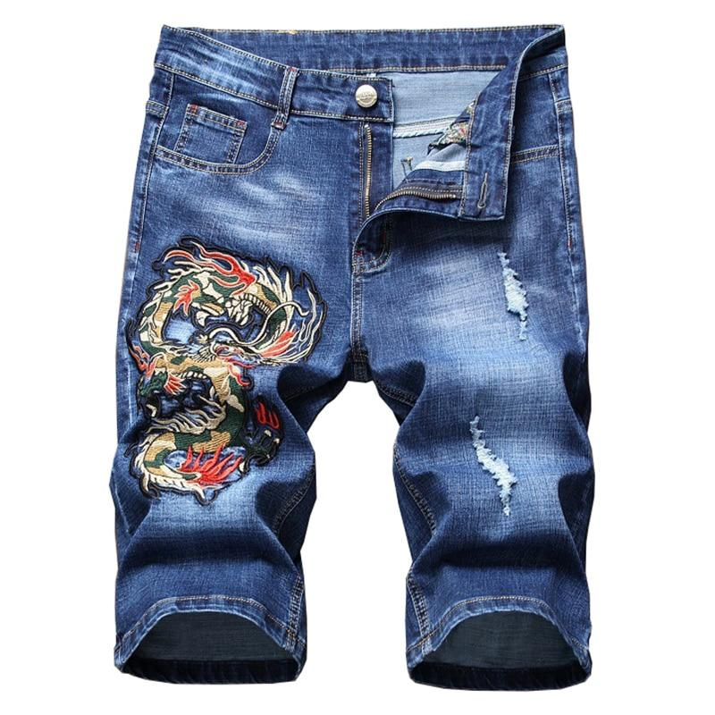 Short Jean Brodé Dragon