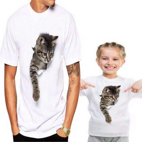 T Shirt Famille Assorti Chat