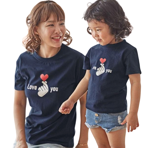 T Shirt Famille Assorti Doigts Coeur Love you