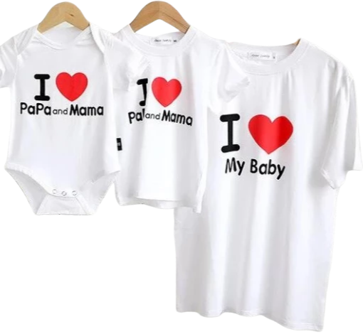 T Shirt Famille Assorti j'aime ma famille