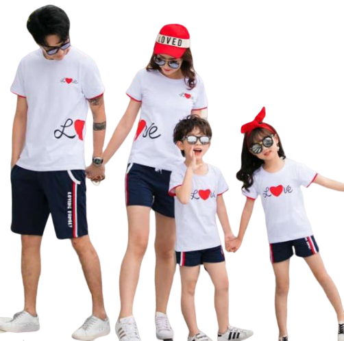 T Shirt Famille Assorti Love Coeur