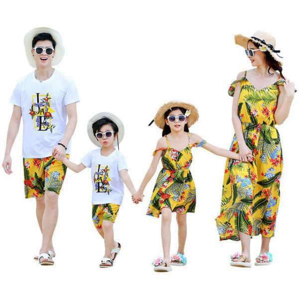 Vêtement Assorti Famille T Shirt Short Robe