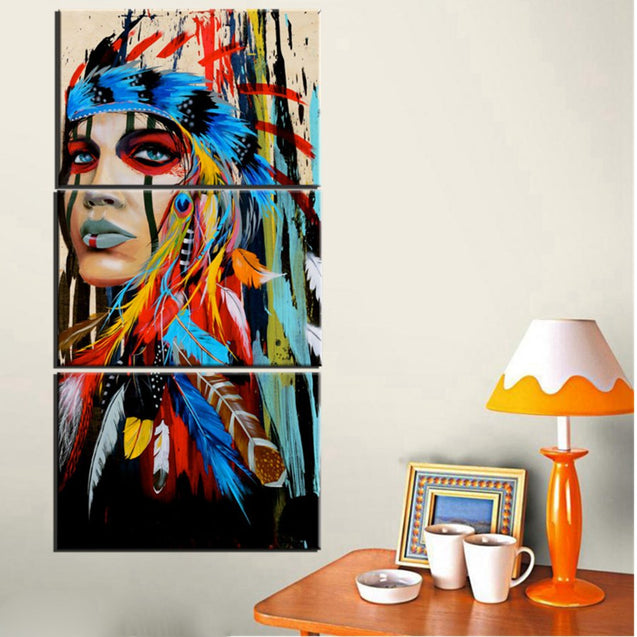 Native American Indian Girl Wall Art Canvas Painting
