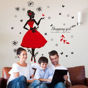 Wearing Dress Fashion Girl Wall Sticker