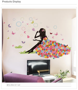 Fairy Girl Bubbles Wall Sticker