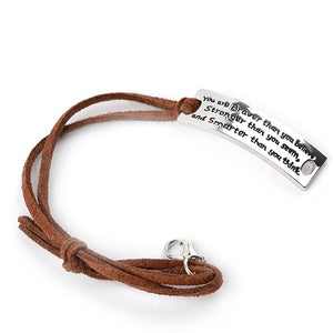 """You are Braver Than you Believe Stronger than you seem"" Inspirational Motivational Leather Bracelet"