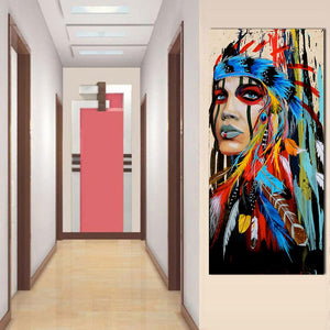 Indian Woman Feathered Canvas Art Wall