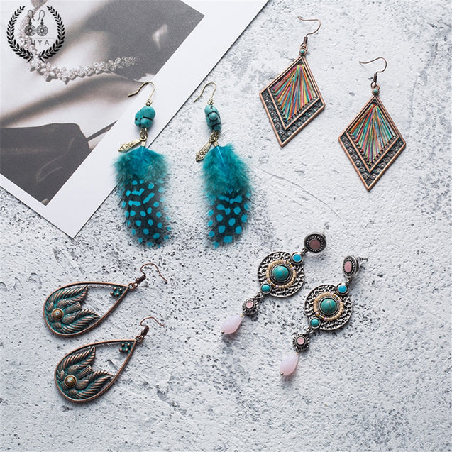 New amazing blue feather earrings