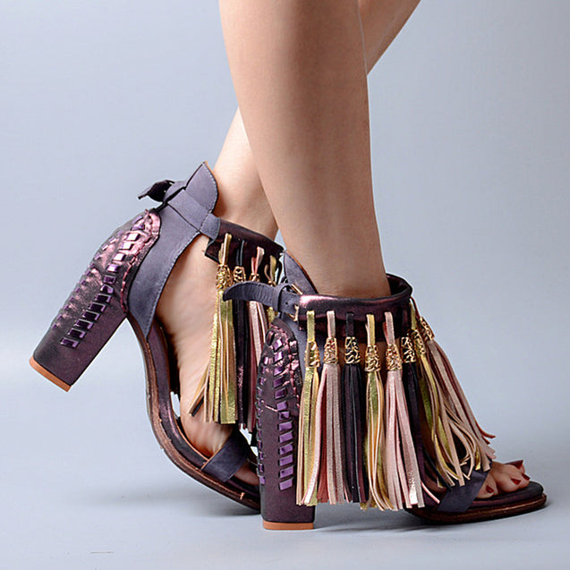 Bohemian Design Tassels Ankle Buckle Strap High Heel Woman Sandals Ethnic Mature Style Genuine Leather Shoes