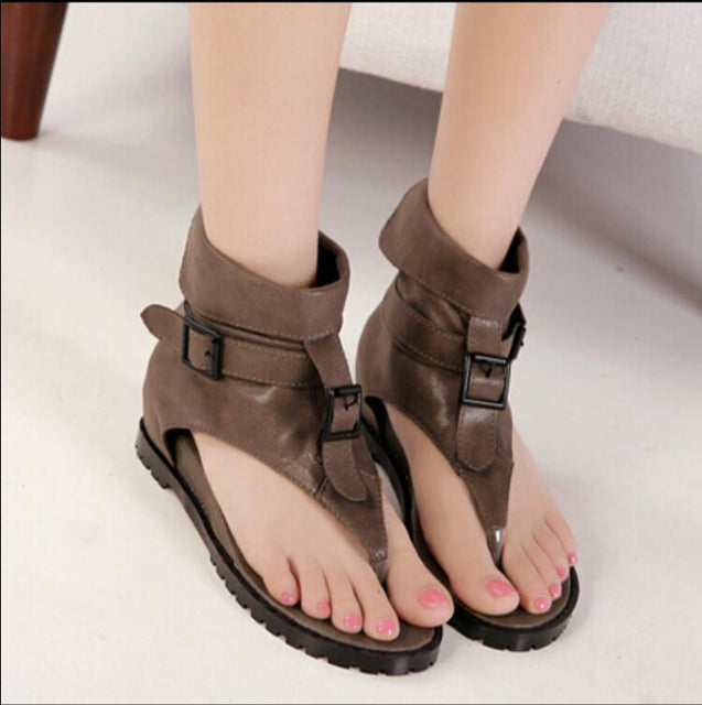 Summer comfortable Roman flat sandals with high help pinched toe and black vintage leather shoes