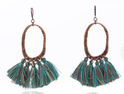Natural stones bead long tassel earrings