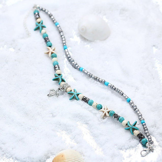 Tortoise Beads Starfish Anklet