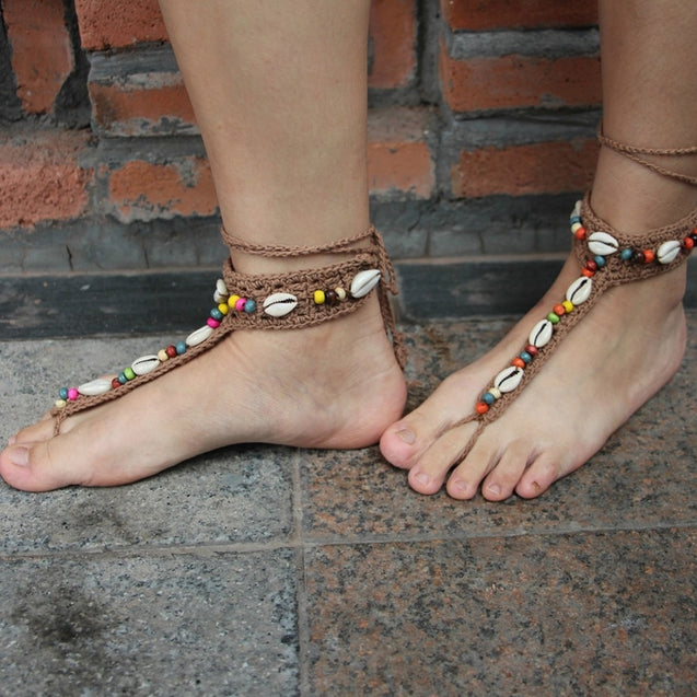 2pcs Handmade Knitted Natural Shell Lace Anklet