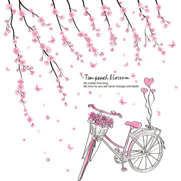 Beautiful Flower Bike Wall Decals