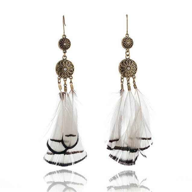 Hot Ethnic Long Tassel Peacock Feather with natural stone earrings