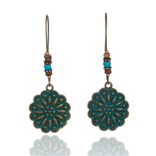 Bohemian antique green hanging earrings