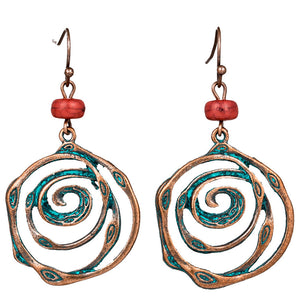Multi swirl spiral circles rounds earring