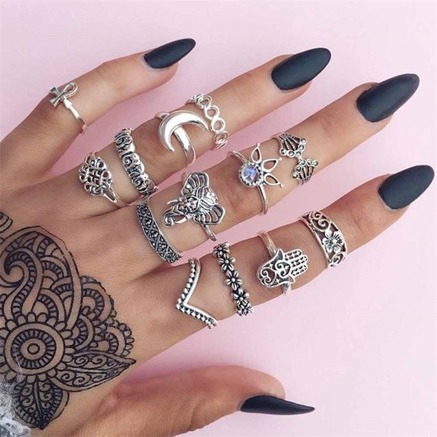 15Pcs/Set Vintage Ring Set