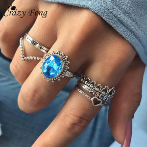6PCS/Set Sea Blue Big CZ Stone Rings for Women