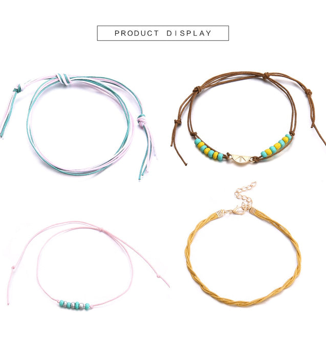 4PCS/Set Chain Rope Anklets