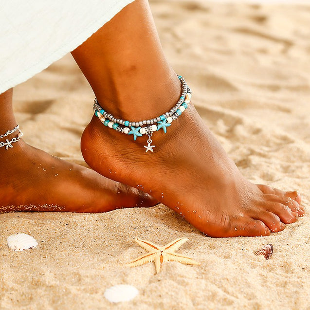 Pearls & Starfish Charms Anklet