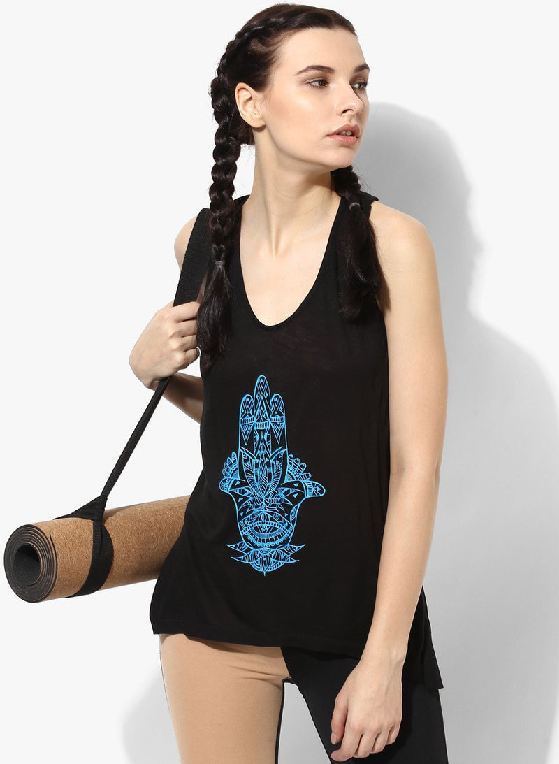 Spiritual Warrior Athleisure Yoga Gym Racerback Black Tank Hamsa